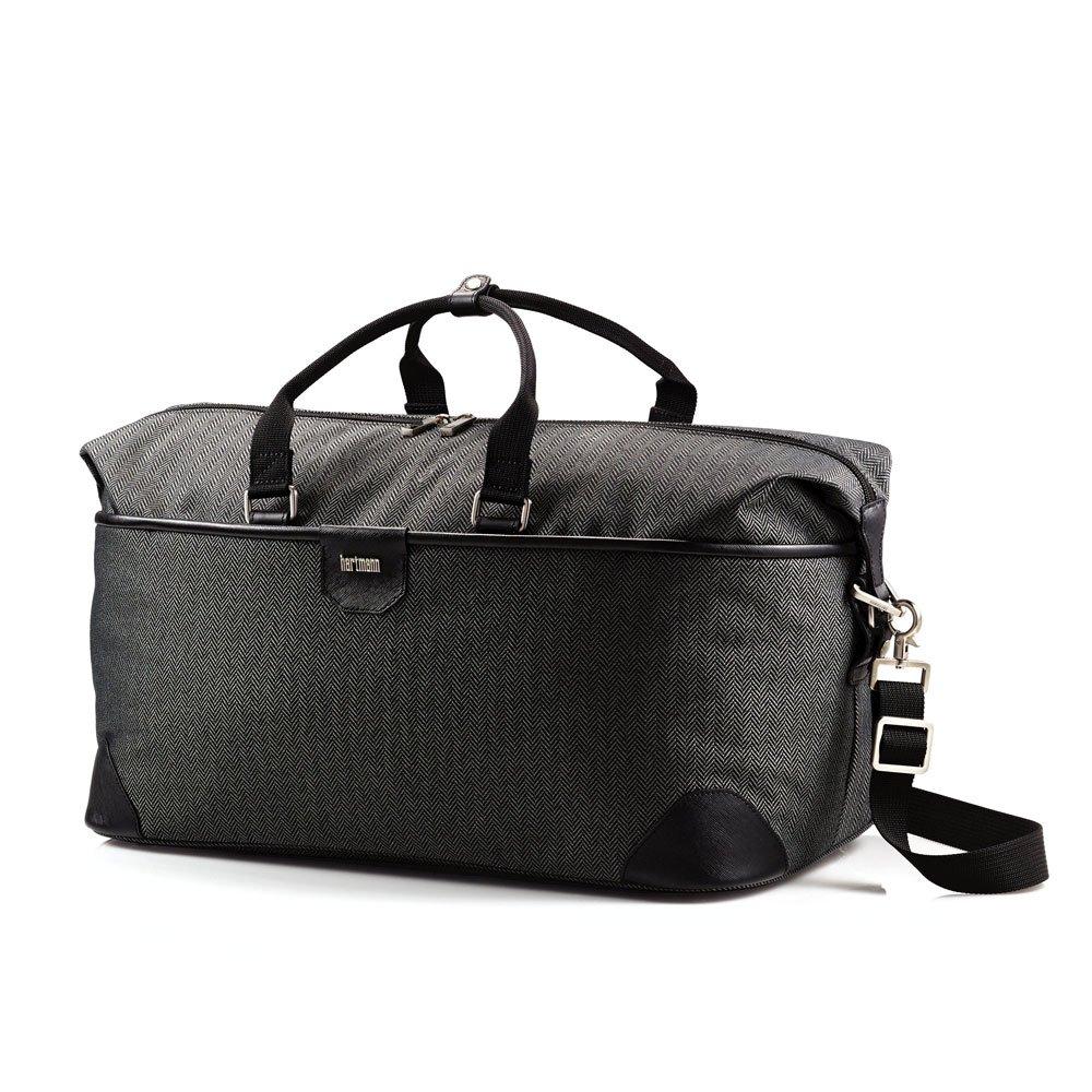 Hartmann Herringbone Luxe Softside Weekend Duffel Bag, Nylon Travel Bag in Black
