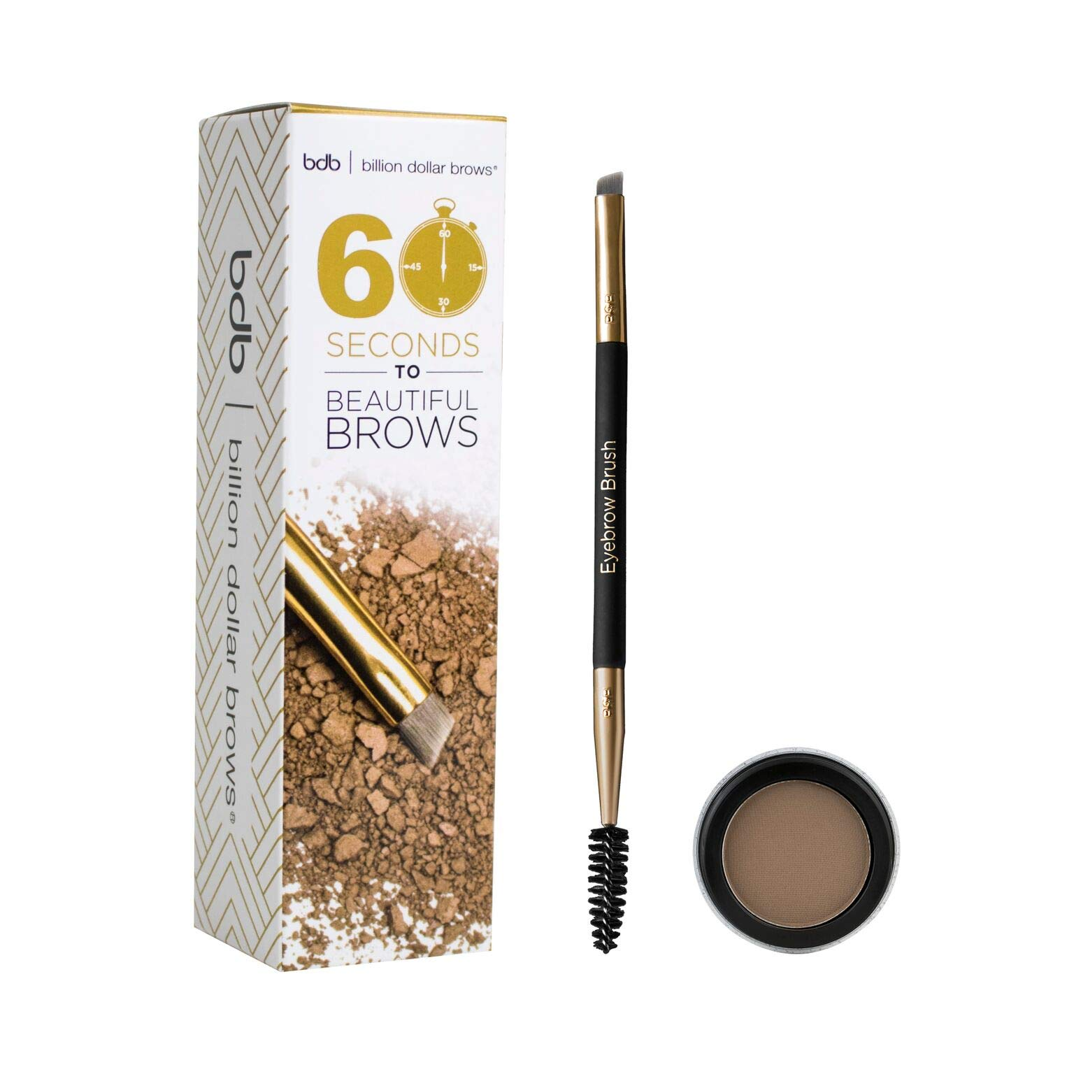 Billion Dollar Brows - 60 Seconds to Beautiful Brows Kit - Includes One Dual Ended Brow Brush, One Taupe Brow Powder, Versatile Color for Light to Dark Hair Colors, Cruelty free, Water resistant