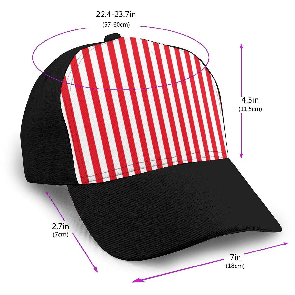Classic Comfortable Red and White Stripes Adjustable Baseball Cap