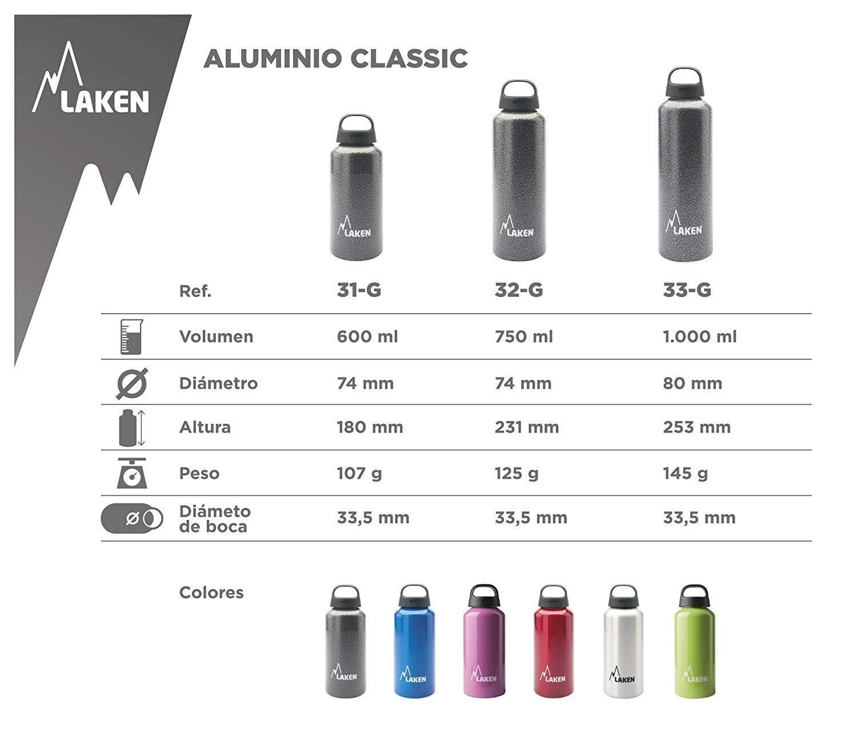 Laken Aluminum Classic Water Bottle Wide Mouth Screw Cap with Loop Lightweight