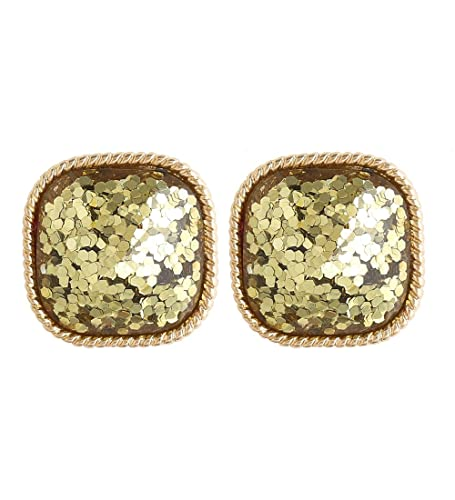 cca1ef3a2 Amazon.com: Boderier Faceted Square Glitter Stud Earrings Cushion Cut  Statement Post Ear Studs (Gold): Jewelry