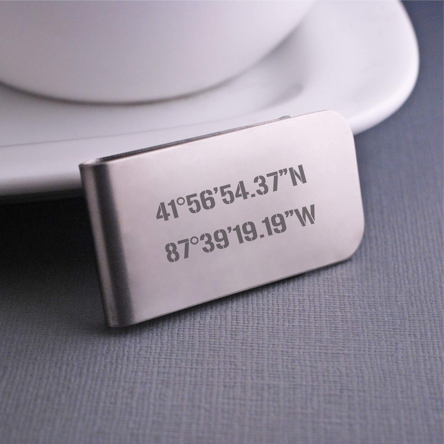 Latitude Longitude Money Clip Personalized Coordinates Christmas Gift for Boyfriend or Husband