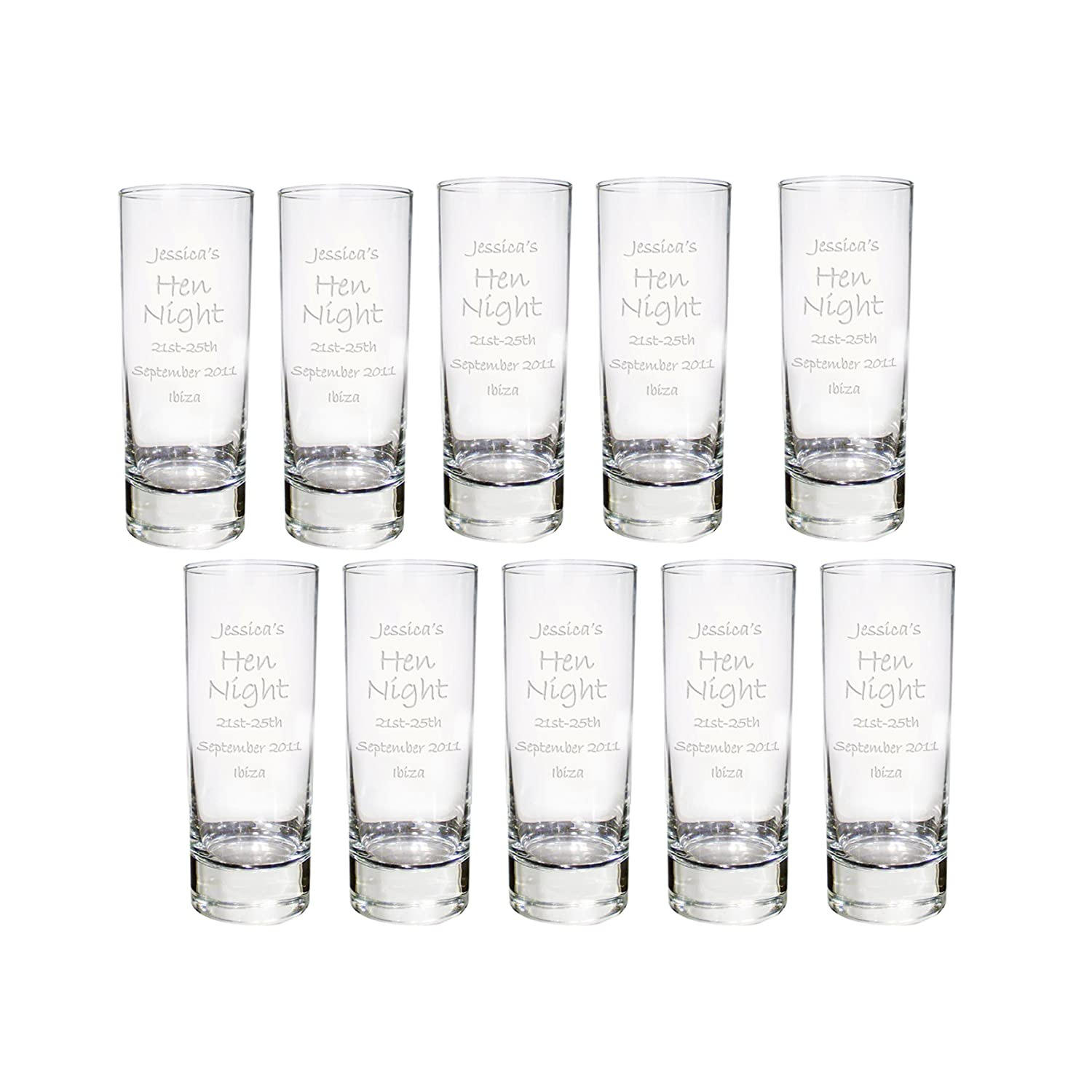 Personalised Pack of 10 Engraved Shot Glass