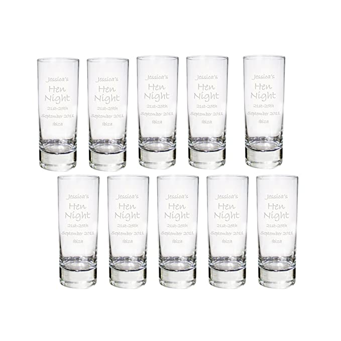 96 Personalised Engraved 6cl 60ml Shot Glass Birthday Gift Stag Hen Night Party