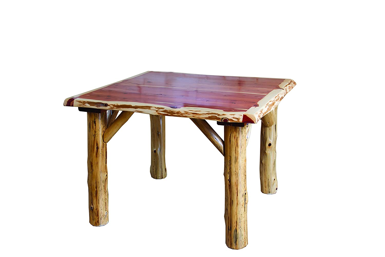 Rustic Red Cedar Log TRADITIONAL SQUARE DINING TABLE AND 4 CHAIR SET
