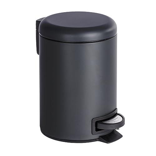 Wenko 22143100 Léman Poubelle Cosmétique à Pédale Acier Inoxydable Noir 17 x 25 x 22,5 cm 3 L