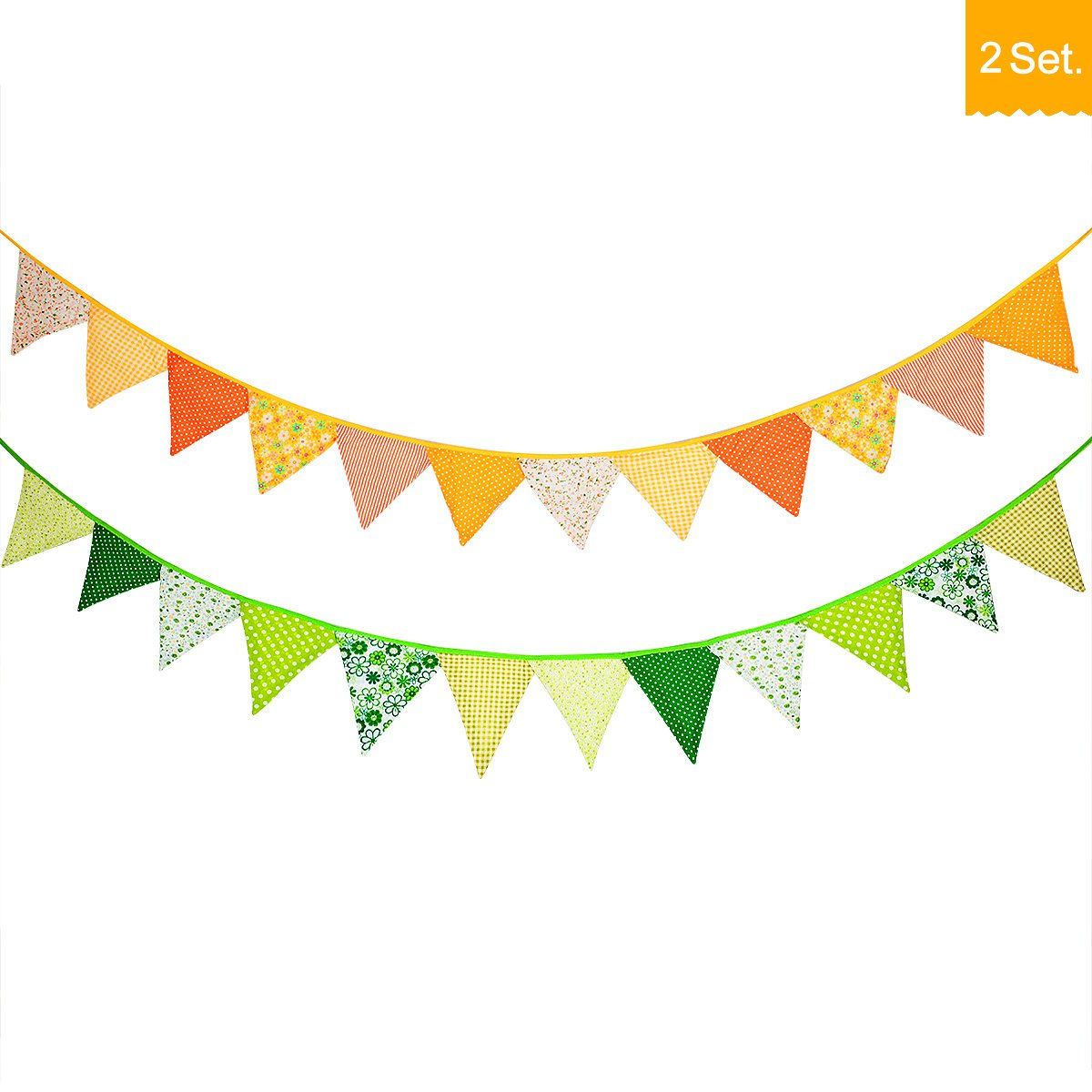 24 Pcs/18 Feet Fabric Banner,Colored Pennant Flag,Vintage Triangle Bunting, Hanging Cotton Garland for Baby Birthday Shower, Wedding,Spring Theme Party,Window Decorations(Yellow and Green)