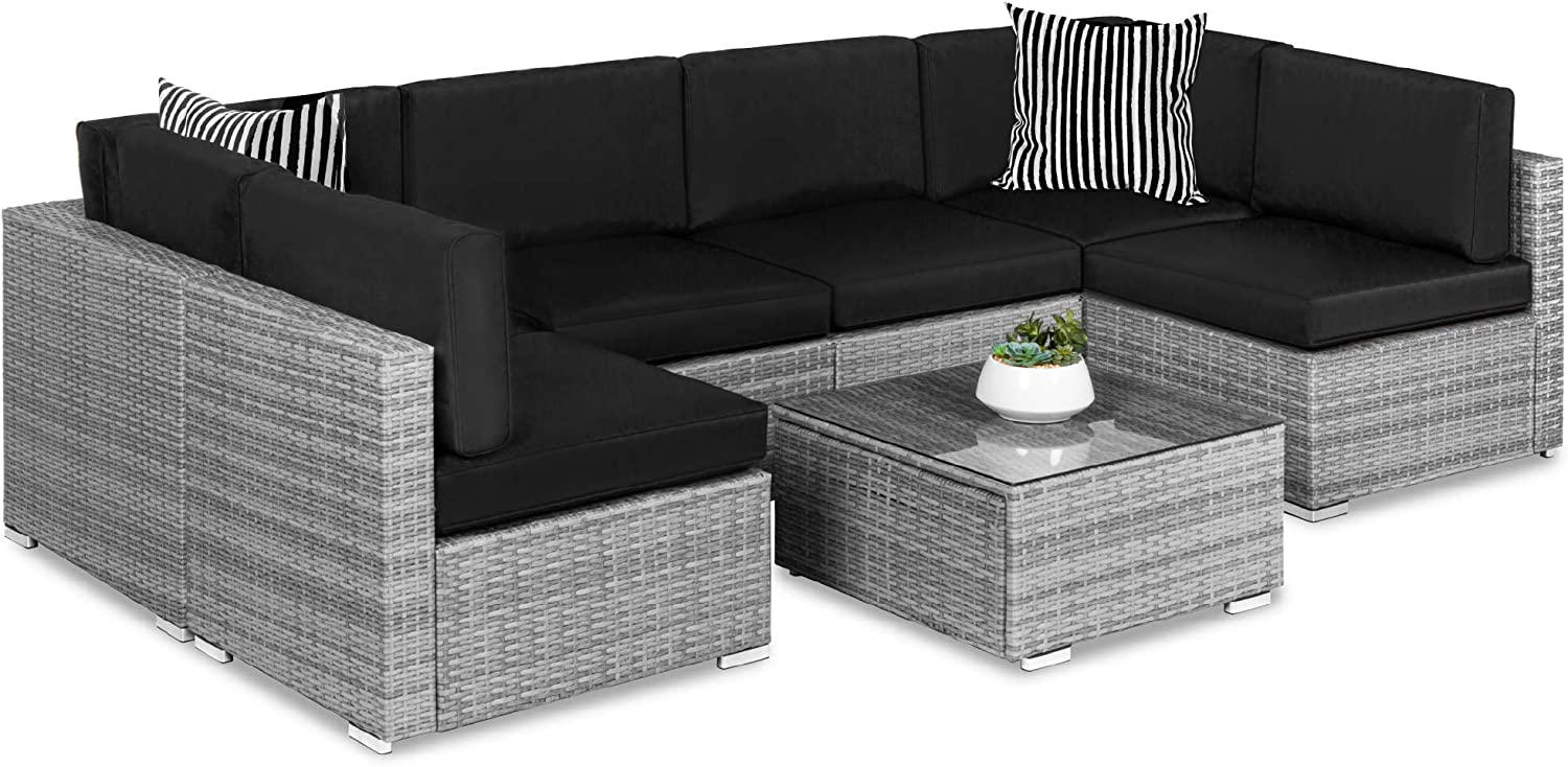 Best Choice Products 7-Piece Modular Outdoor Sectional Wicker Patio Furniture Conversation Set w/ 6 Chairs, 2 Pillows, Seat Clips, Coffee Table, Cover Included - Gray/Black