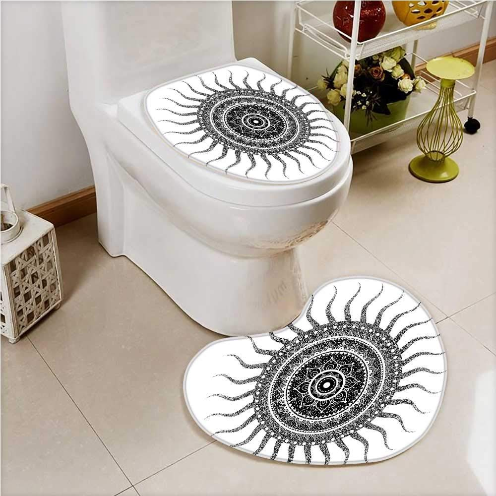 Non-slip Bath Toilet Mat Classic India Style Sun and Beams like Oriental ative Print Black and White Soft Non-Slip Water