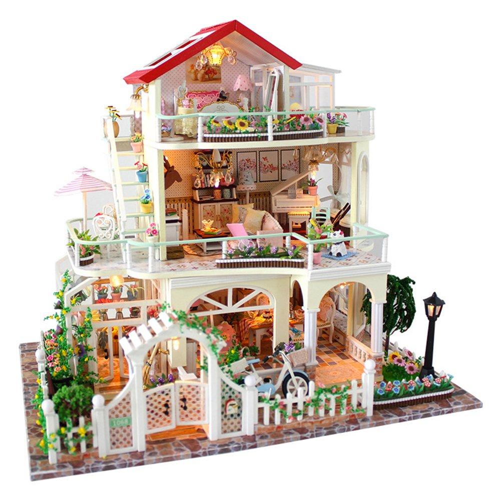 Oshide Puppenhaus Süß Hause DIY House mit Licht macht viel Spaß für Kinder oder als Geschenk 4  4