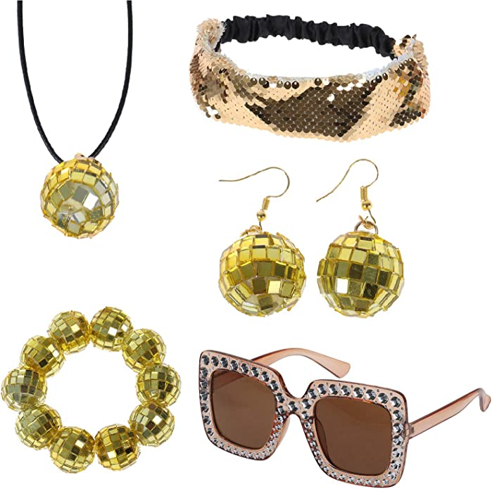70s Clothes | Hippie Clothes & Outfits Omigga 5 Pieces 1970s Disco Accessories Disco Set Ball Earrings Necklace Bracelet Bling Headband and Sunglasses for Women Gold $13.99 AT vintagedancer.com
