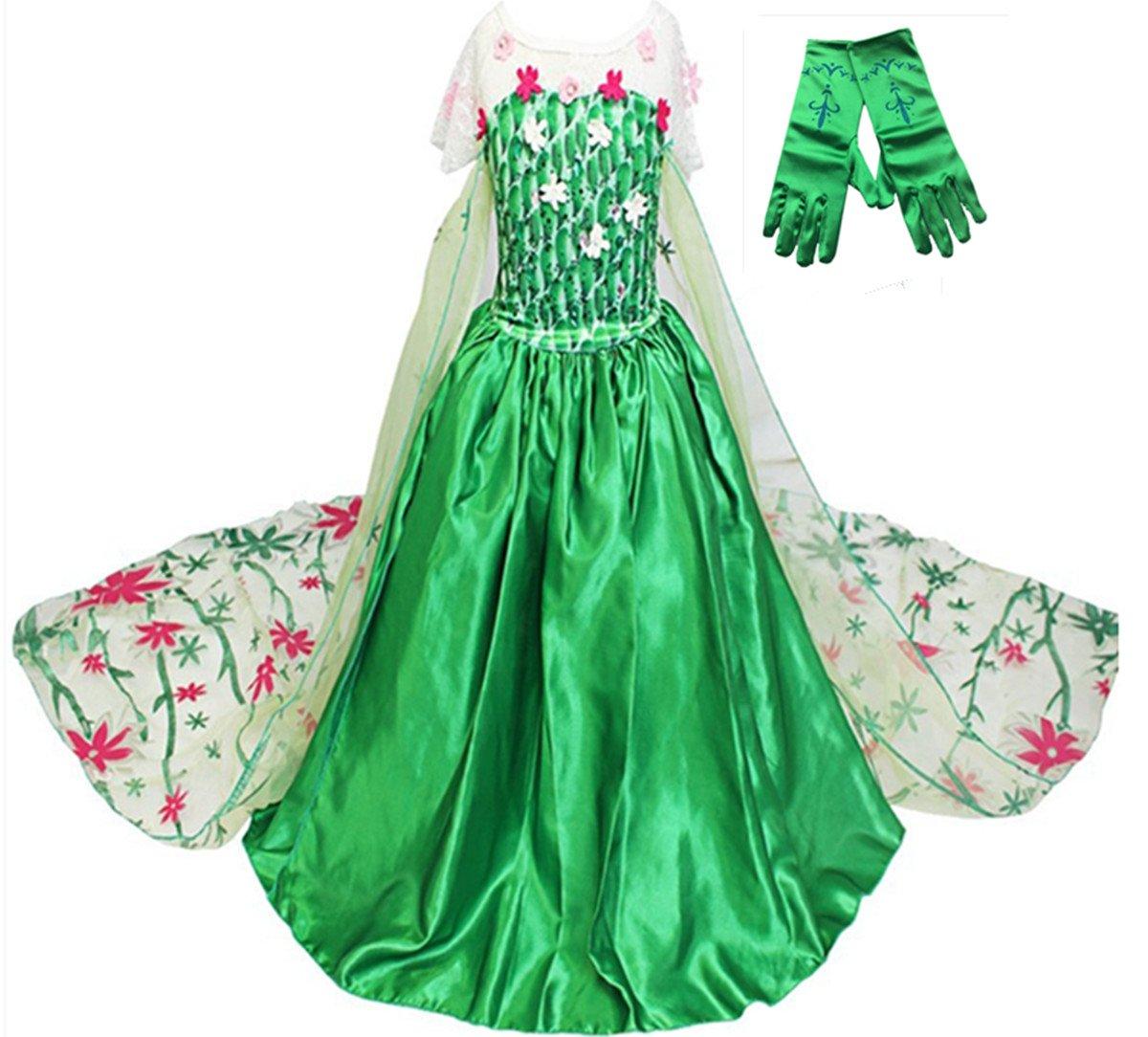 GenialES Prinzessin Kleid Handschuhe Grün Kostüm Karneval ...