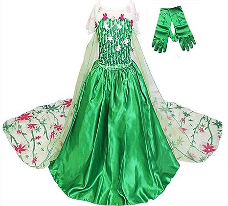 GenialES Costume Principessa Vestito Guanti Verdi lunghi Regalo Carino  Cerimonia Cosplay Festa Compleanno Carnevale Halloween Bambina e0cc4b2a950