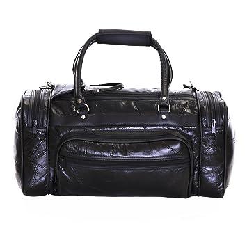 Slimbridge Leather Cabin Hand Luggage Travel Shoulder Gym Bag 44 cm 650 Grams Blumberg Black