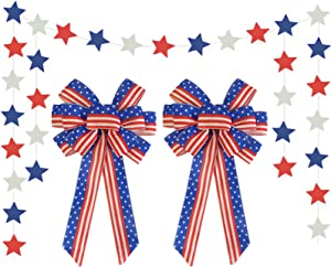4th of July Patriotic Wreath-Bow Independence-Day Decoration - American Flag Bunting Bow Red Blue Stars Stripes Wreath Bow for Indoor Outdoor Independence Day Memorial Day Party Decoration