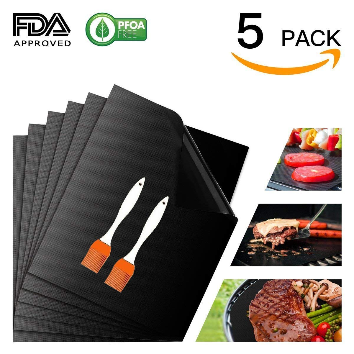 Vstyle Grill Mat, BBQ Grill Mat Baking Mat Set of 5, 100% Nonstick FDA Approved, Reusable and Easy to Clean - One Year Warranty (black) (40)