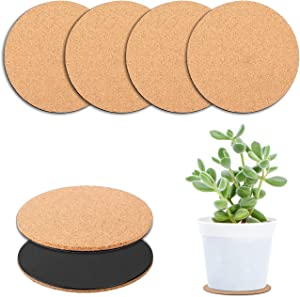 BEATURE 6 Pcs Cork Plant Mat Plastic Plant Mat Round Plate Pad for Courtyard, Pot Mat, Indoor, Garden, and DIY Craft Project (4-Inchs)