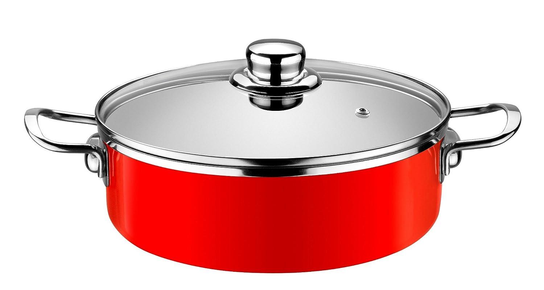 Monix Fresa - Cacerola baja 24 cm de acero esmaltado roja con antiadherente Teflon® Classic.