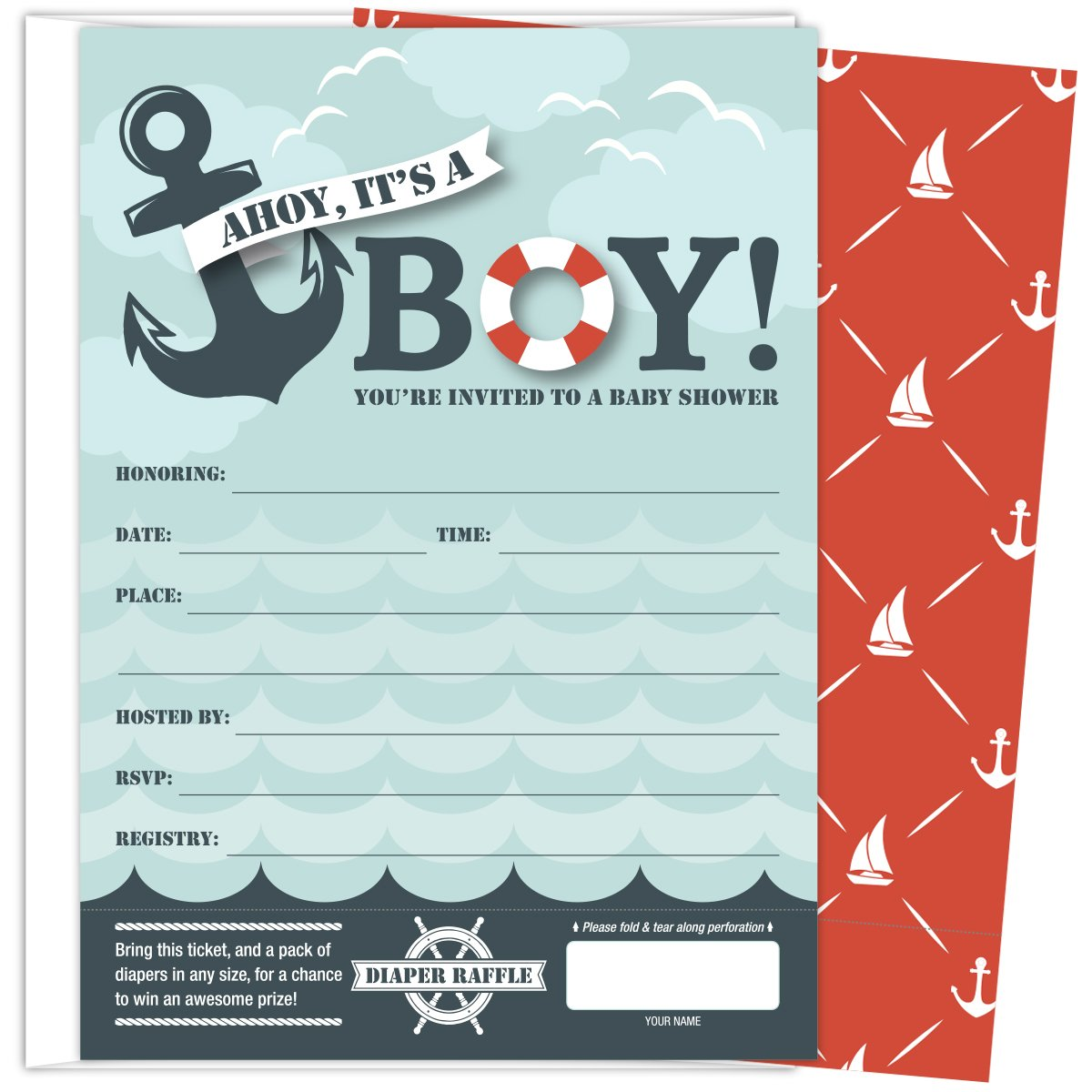 Amazon.com : Koko Paper Co It\'s A Boy Nautical Baby Shower ...