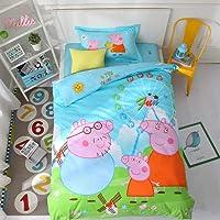 CHOUREN Peppa Pig Animals Print 3 In 1 Quilt Comforter Modern Cute Duvet Cover Flat Bed Sheet Pillowcases Single Bed…