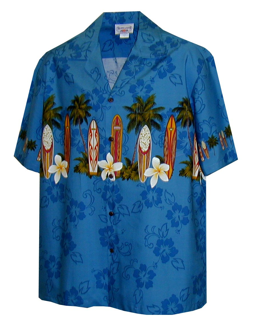 Pacific Legend Boys Plumeria Surfboard Shirt BLUE M