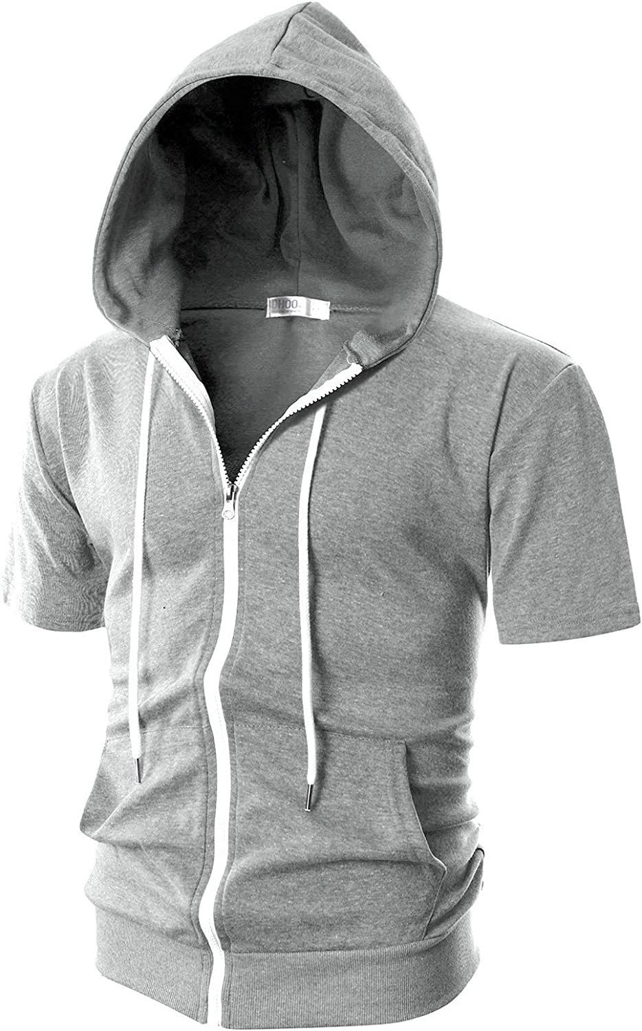 DSstyles Men Slim-Fitting Shot Hoodie with Zipper /& Pockets Fitness Sports Wear