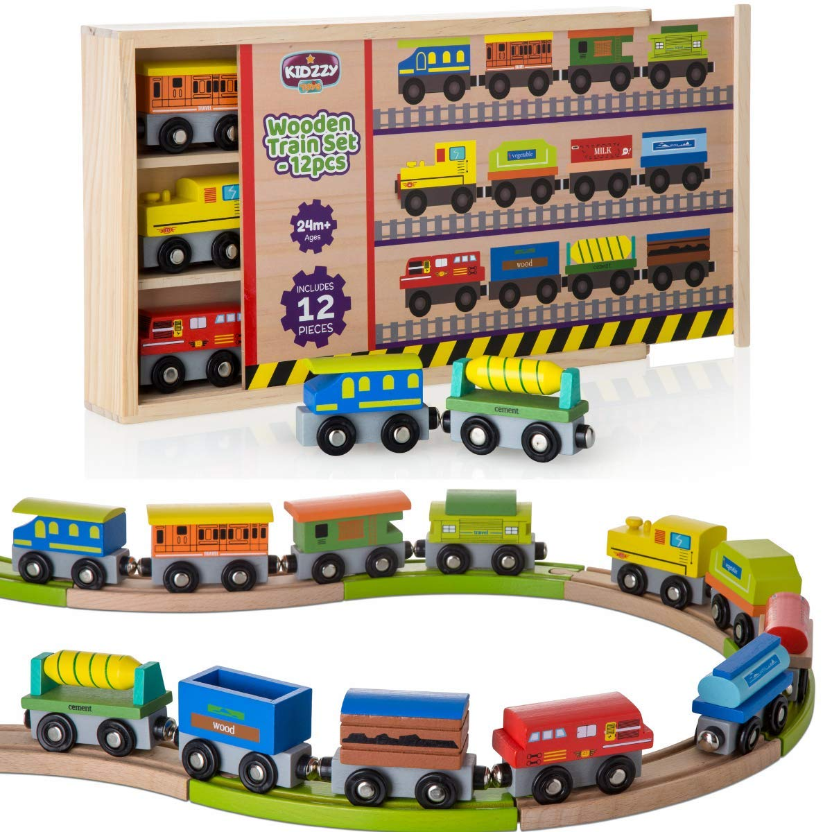 Wooden Train Set 12 PCS Box with Cover - Train Toys Magnetic Set - Toy Train Sets for Kids Toddler Gift for Christmas and Birthday Gift for Boys by Kidzzy Toys
