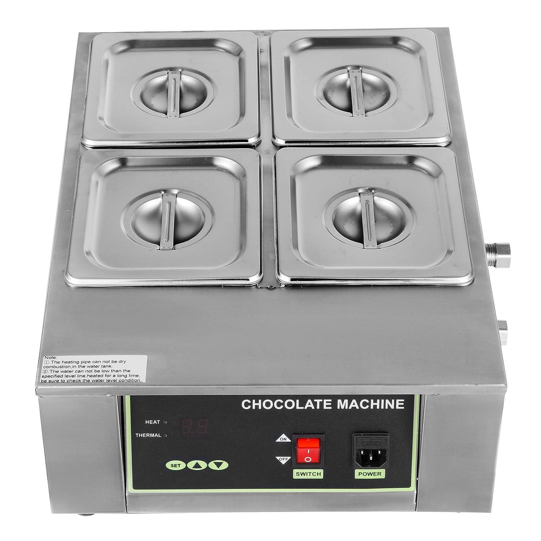 BuoQua 1500W Set Fonduta Al Cioccolato In Acciao Inox 4 Serbatoi Macchina Per Cioccolata Calda Professionale 8kg Electric Water Heating Chocolate Melter (D2002-4)