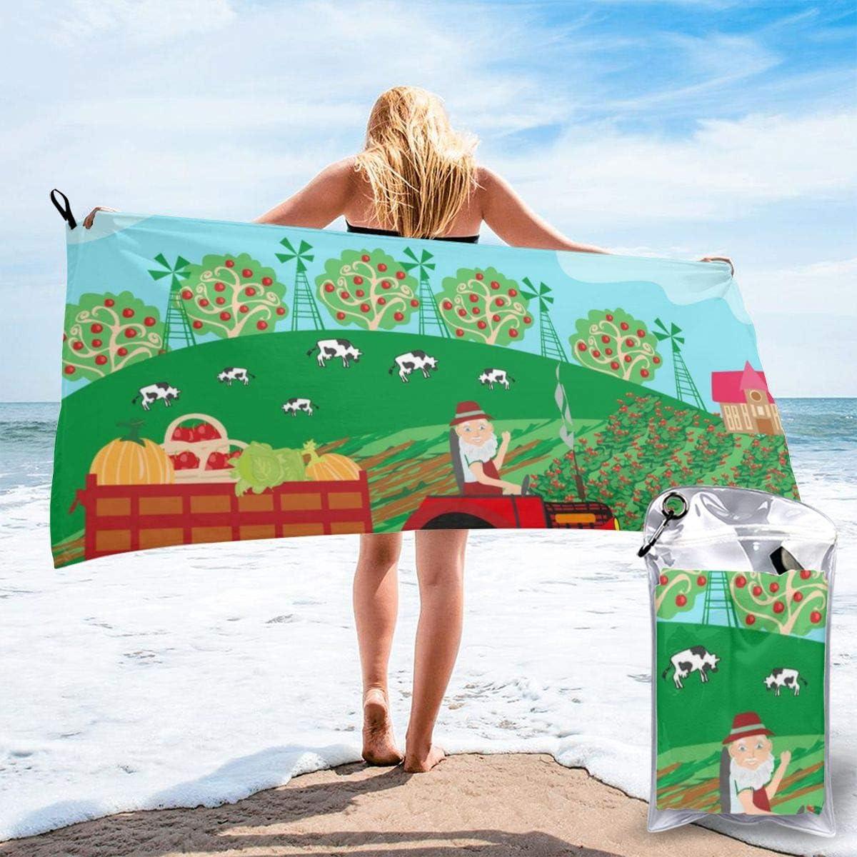 Morbido e Super Assorbente Asciugamano da Bagno Trattore di Fattoria Spiaggia LRIRG Adatto per Hotel Palestra Piscina