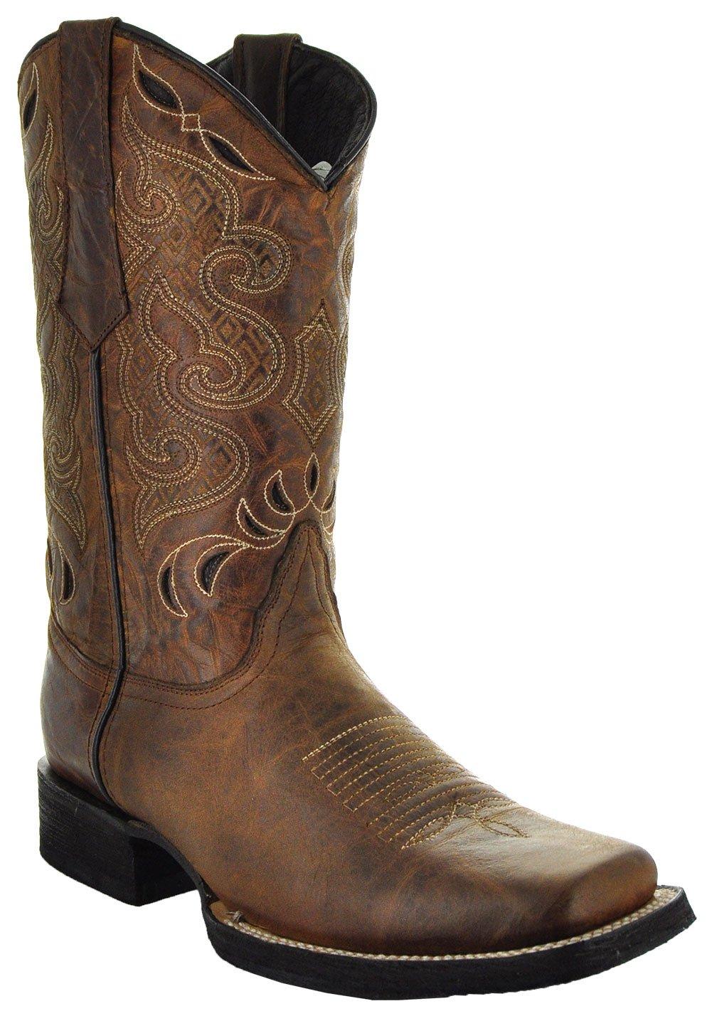 Soto Boots Men's Broad Square Toe Boots H50019 (9.5, Tan)