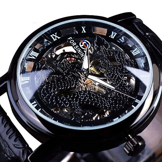 Forsining Dragon Skeleton - Reloj de Pulsera para Hombre, diseño Transparente, Esfera Dorada: Amazon.es: Relojes