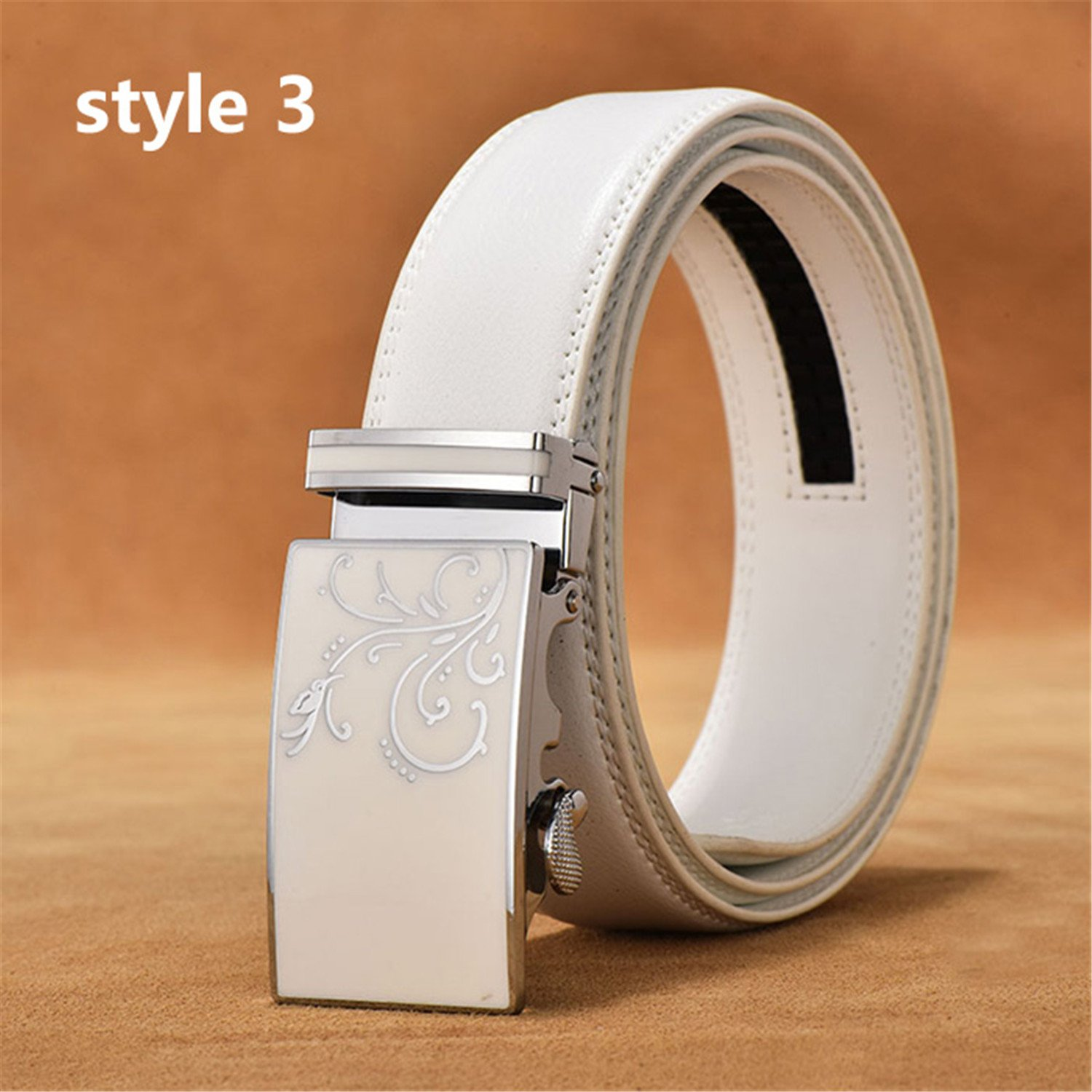 Designer Male Leather Strap White Automatic Buckle Belt Ceinture Homme style3 120cm
