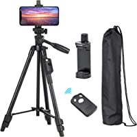 Tripod, 50 Inch Aluminum Tripod, Video Tripod for Cellphone, Camera, Universal Tripod with Wireless Remote, Compatible…