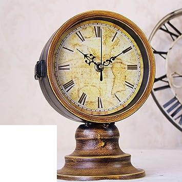 estilo americano doble retro reloj de mesa Europea de silencio cuando el reloj Proposición decoración-A: Amazon.es: Hogar