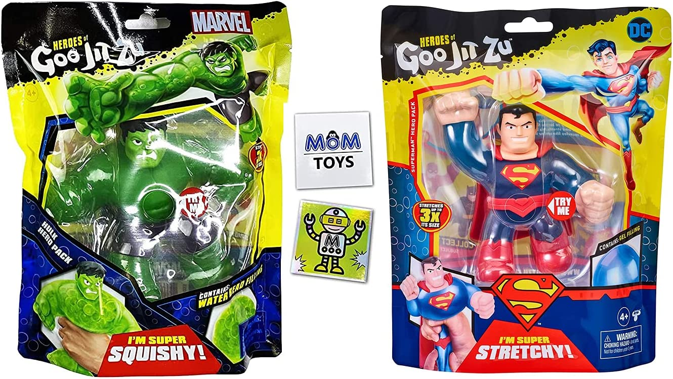 Heroes of Goo JIT Zu 2 Pack DC vs Marvel with Superman and Hulk Plus 2 My Outlet Mall Stickers