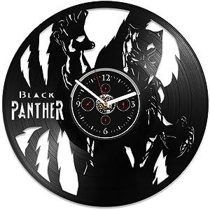 Handmade Vinyl Record Wall Clock Black Panther Clock Wall Clock Large Clock Black Panther Black Panther Gift Marvel Comics Clock Gift Black Panther Birthday Gift For Kid Black Panther Vinyl Wall Clock