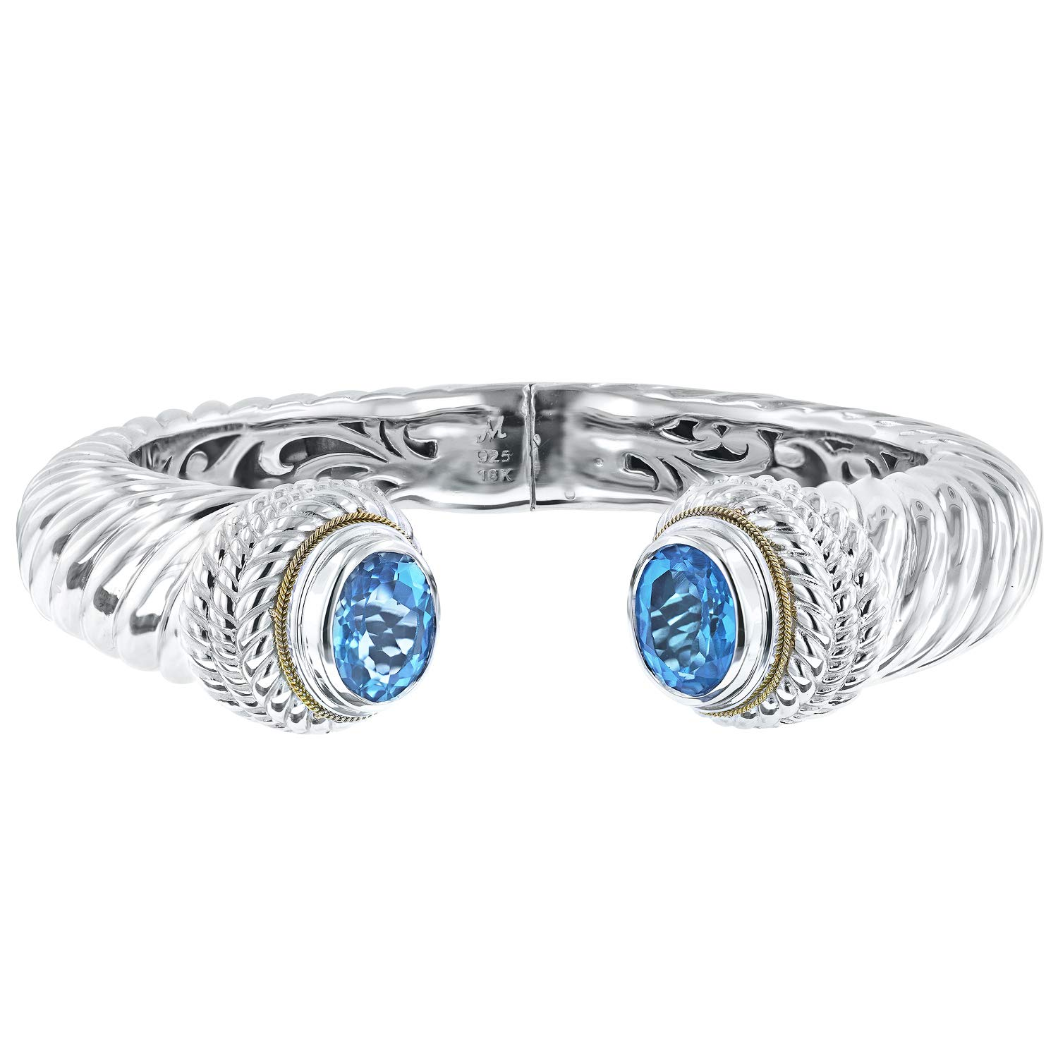 Robert Manse Designs Bali Romanse Gemstone Sterling Silver and 18K Gold Hinged Cuff Bracelet (Swiss-Blue-Topaz)