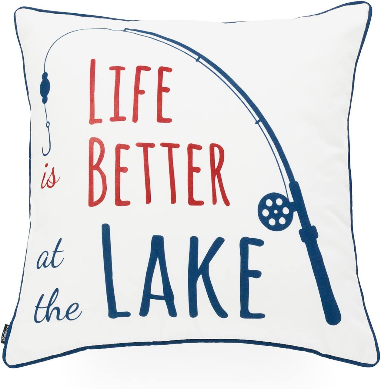 """Hofdeco Lake House Indoor Outdoor Pillow Cover ONLY, Water Resistant for Patio Lounge Sofa, White Navy Red Life Better at Lake, 18""""x18"""""""