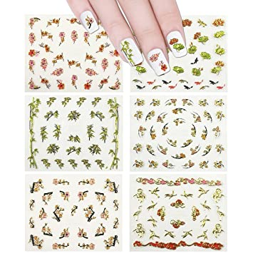 Amazon Allydrew 6 Sheets Asian Inspired Nail Stickers Nail Art