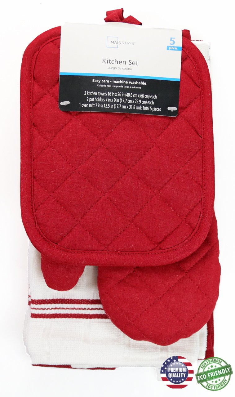 Red Sedona Towel Kitchen Set 2 Towels, 2 Pot Holders and 1 Oven Mitt