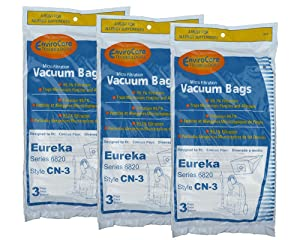 9 Eureka CN-3, CN3 Canister Vacuum Bags, Series 6820, General Electric Vacuum Cleaners, 62295, GE6820, GE 6820