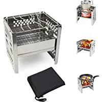 Wood Burning Camp Travel Muti-function Stoves Folding Portable Stainless Steel Carry Bag for Camping Backpacking Hiking Cooking Pinic BBQ Outdoor Backpacking Stove with Grill Grid