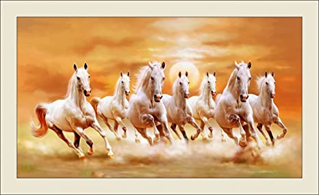 Shine India 7 Horses In Direction As Vastu Fengshui Painting With