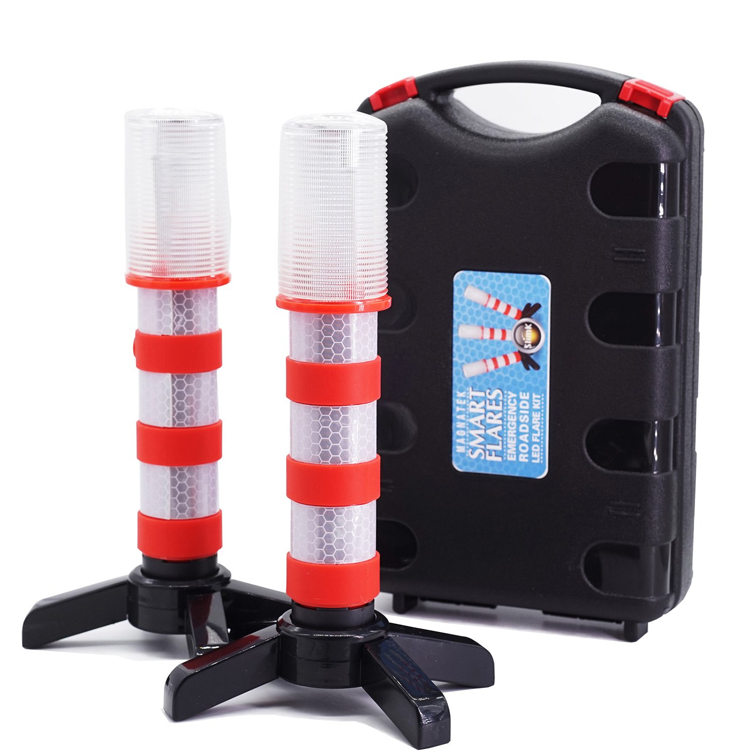 2 LED Emergency Road Flares Red Roadside Beacon Safety Strobe Light Warning Signal Alert Magnetic Base and Upright Stand in Solid Storage case for Car Marine Vehicles Trucks by SlimK