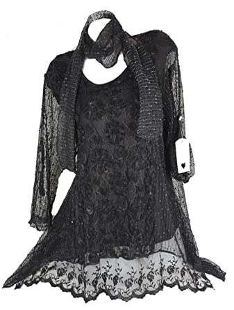 innovative design 0d239 95ad3 Damen festlich Sommer Twinset 2tlg Lagenlook Spitze Netz Tunika Kleid Schal  3D Blumen 40 42 44 46 ML Schwarz Grau