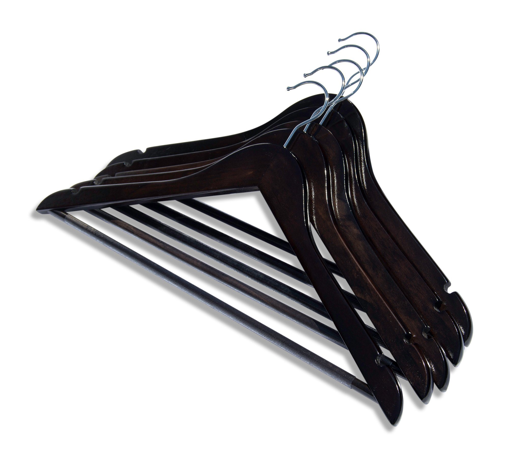 Clutter Mate Wood Clothes Hangers Dark Walnut Wooden Coat Hanger 20-Pack by Clutter Mate (Image #3)