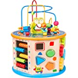 BATTOP 8 in 1 Multifunction Wooden Activity Cube Toys,Large Baby Educational Wooden Bead Maze Toys for Boys & Girls…