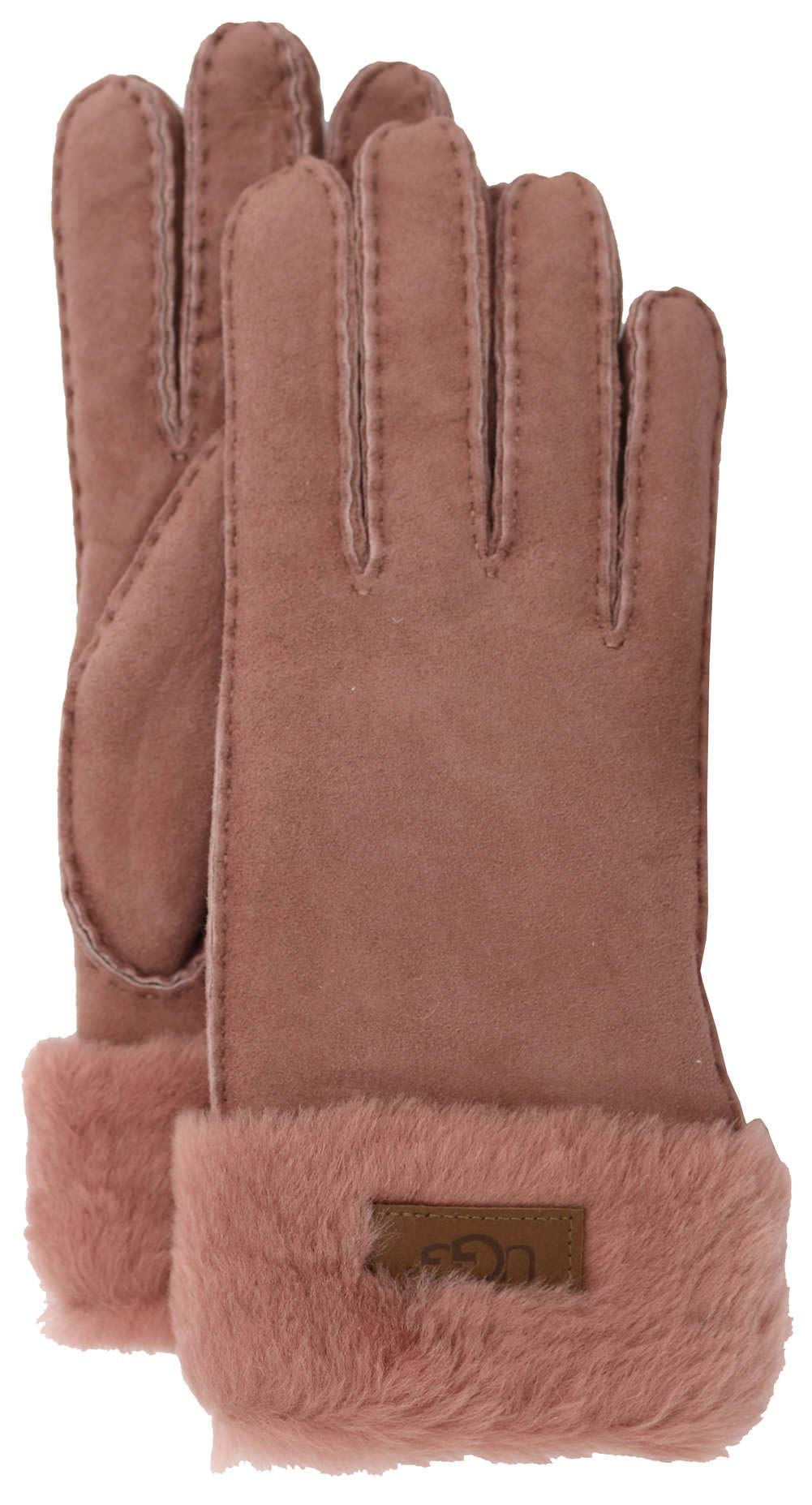 UGG Women's Turn Cuff Water Resistant Sheepskin Gloves Lantana Pink LG