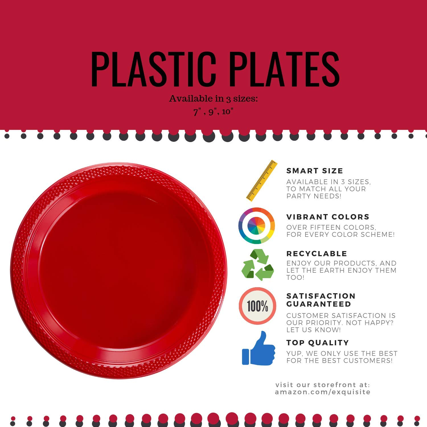 Exquisite Plastic Dessert/Salad Plates - Solid Color Disposable Plates - 100 Count (10 Inch, Clear) by Exquisite