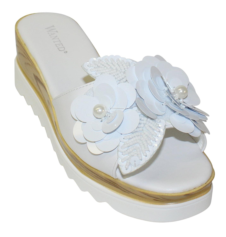 Wanted Women's Spray Flower Embellished Open Toe Platform Wedge Sandal B07BHMZZ3H 7.5 M US|White